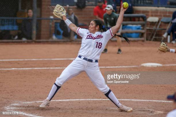 Arizona Wildcats starting pitcher Taylor McQuillin pitches during the a college softball game between Colorado State Rams and the Arizona Wildcats...