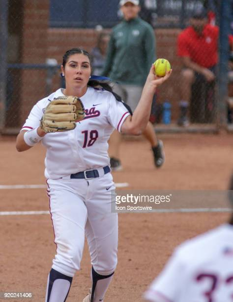 Arizona Wildcats starting pitcher Taylor McQuillin throws the ball to first during the a college softball game between Colorado State Rams and the...