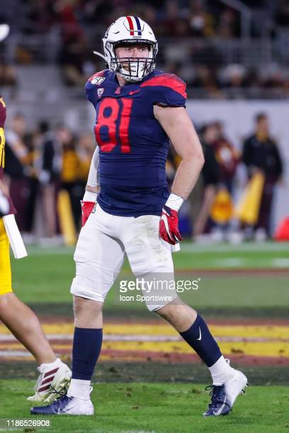 Arizona Wildcats tight end Bryce Wolma looks on during the college football game between the Arizona Wildcats and the Arizona State Sun Devils on...