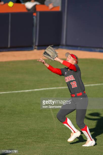 Arizona Wildcats utility Ivy Davis catches the ball during a college softball game between the Alabama Crimson Tide and the Arizona Wildcats on...