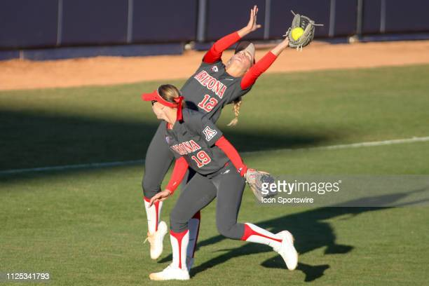 Arizona Wildcats utility Ivy Davis tries to catch the ball during a college softball game between the Alabama Crimson Tide and the Arizona Wildcats...