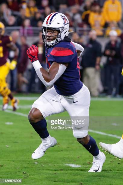 Arizona Wildcats wide receiver Jamarye Joiner runs the ball during the college football game between the Arizona Wildcats and the Arizona State Sun...
