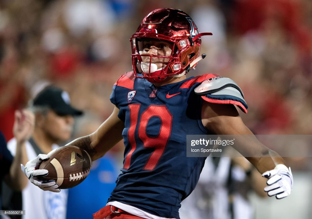 Arizona Wildcats wide receiver Shawn Poindexter (19) reacts after getting pushed out of bounds during the college football game between the Houston Cougars and the Arizona Wildcats on September 9, 2017, at Arizona Stadium in Tucson, AZ. The Cougars defeated the Wildcats 19-16.