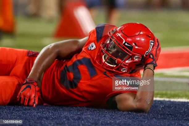 Arizona Wildcats wide receiver Shun Brown poses in the endzone after a touchdown during a college football game between the Oregon Ducks and Arizona...