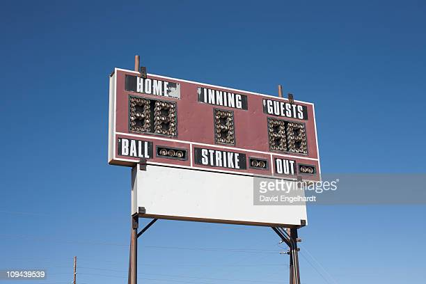 usa, arizona, winslow, baseball scoreboard - scoreboard stock pictures, royalty-free photos & images