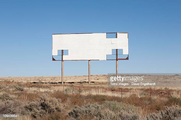 USA, Arizona, Winslow, Blank billboard against blue sky