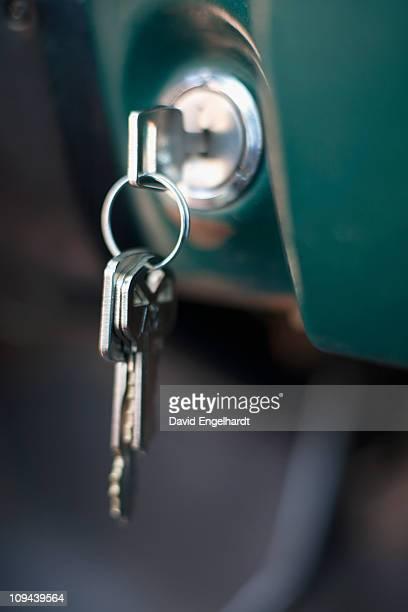 USA, Arizona, Winslow, Key in ignition, close-up
