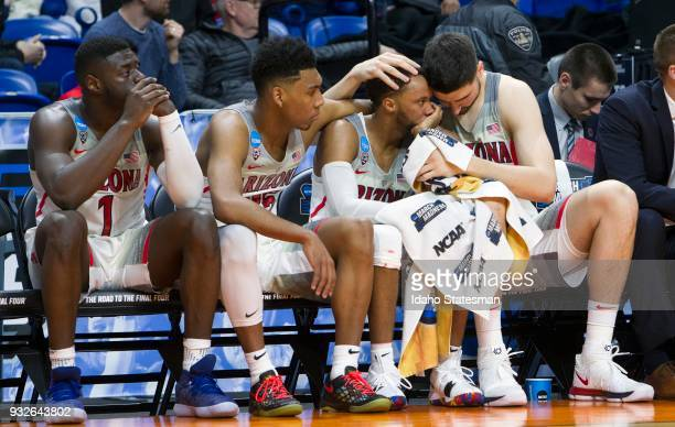 Arizona's bench copes with being upset by Buffalo in the first round of the NCAA Tournament's West Regional on Thursday March 15 at Taco Bell Arena...