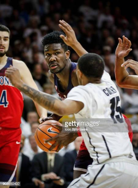 Arizona's DeAndre Ayton looks to pass in front of Colorado's Dominique Collier during their regular season PAC12 basketball game on January 06 2018...