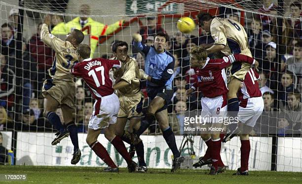 Arjan De Zeeuw of Portsmouth scores a goal which was subsequently disallowed during the Nottingham Forest v Portsmouth Nationwide First Division...