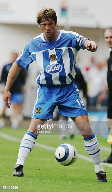 Arjan De Zeeuw of Wigan Atheltic in action during the Barclays Premiership match between Charlton Athletic and Wigan at The Valley on August 20 in...
