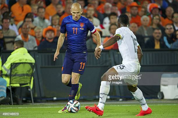 Arjan Robben of Holland Rashid Sumaila of Ghana during the International friendly match between The Netherlands and Ghana on May 31 2014 at the Kuip...