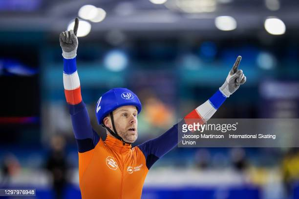 Arjan Stroetinga of Netherlands reacts in the Men's Mass Start during day 2 of the ISU World Cup Speed Skating at Thialf on January 23, 2021 in...