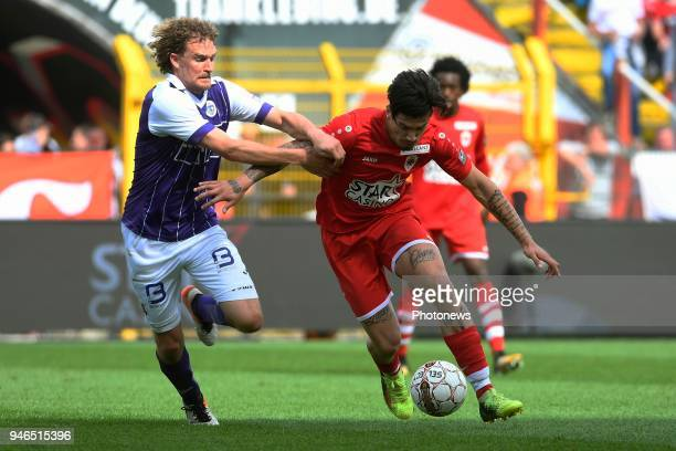 Arjan Swinkels of Beerschot Wilrijk Joaquin Ardaiz forward of Antwerp FC during the Jupiler Pro League play off 2 match between Royal Antwerp FC and...