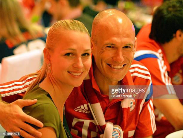 Arjen Robben and Bernadien Robben during the FC Bayern Muenchen Champions party after winning the German DFB Cup finale at Deutsche Telekom...