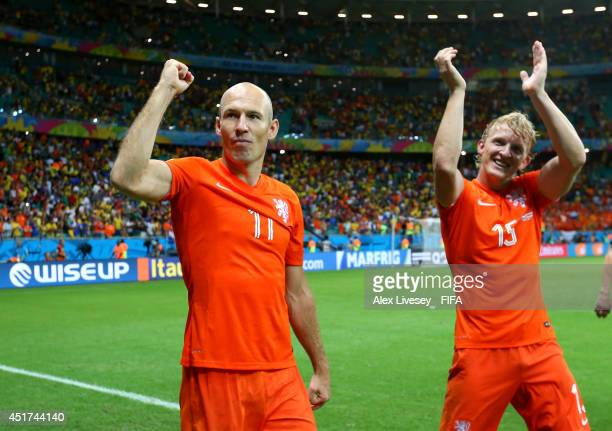 Arjen Robben and Dirk Kuyt of the Netherlands celebrate the win after the 2014 FIFA World Cup Brazil Quarter Final match between Netherlands and...