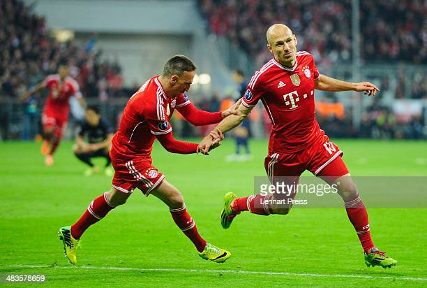 Arjen Robben and Franck Ribery of Muenchen celebrate their third goal during the UEFA Champions League quarter-final second leg match between FC...