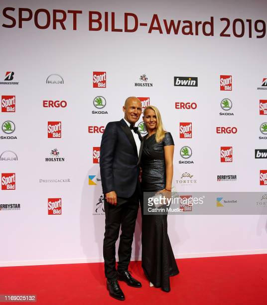 Arjen Robben and his wife Bernadien Eillert attend the Sport Bild Award 2019 at the Fischauktionshalle on August 19 2019 in Hamburg Germany