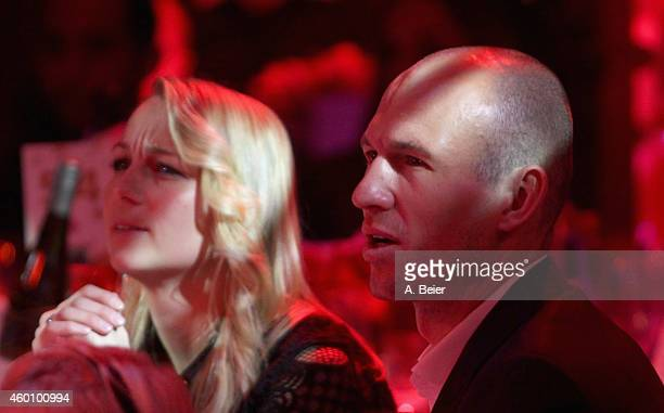 Arjen Robben and his wife Bernadien Robben attend the FC Bayern Muenchen christmas party at Schuhbeck's Teatro restaurant on December 7, 2014 in...