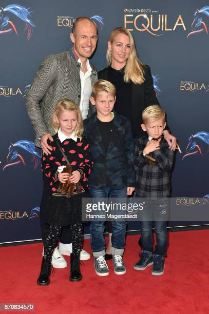 Arjen Robben and his wife Bernadien with their kids Lynn Luka and Kai during the world premiere of the horse show 'EQUILA' at Apassionata Showpalast...