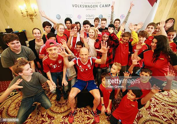 Arjen Robben answers questions to children of the German International School Doha during day 7 of the Bayern Muenchen training camp at ASPIRE...