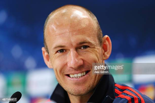 Arjen Robben attends the FC Bayern Muenchen press conference ahead of their UEFA Champions League semifinal second leg match against Real Madrid at...