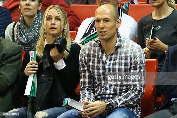 Arjen Robben attends with Bernadien Robben the Euroleague Basketball match between FC Bayern Munich and FC Barcelona at Audi Dome on November 20 2014...