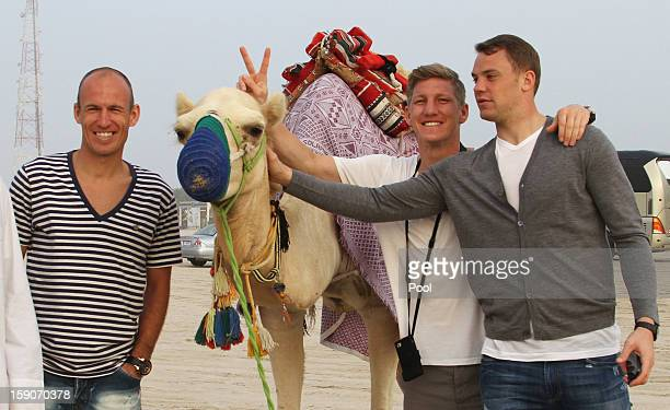 Arjen Robben Bastian Schweinsteiger and goalkeeper Manuel Neuer of Bayern Muenchen pose next to a camel during the team's desert tour on January 7...
