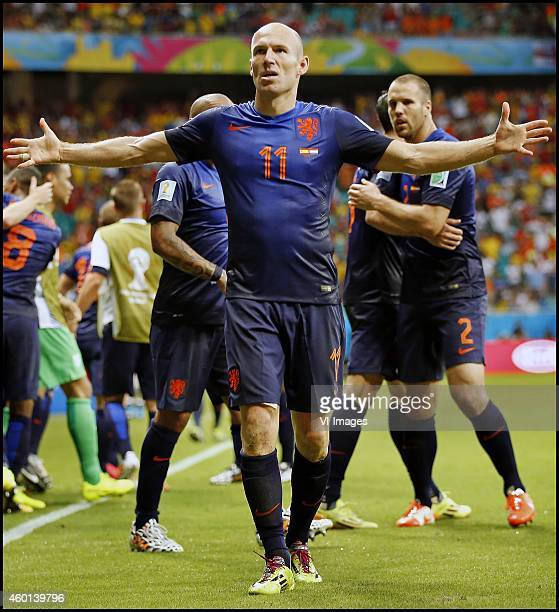 Arjen Robben during the FIFA World Cup 2014 groupstage group B match between Spain and Netherlands on June 13 2014 at the Arena Fonta Nova in...