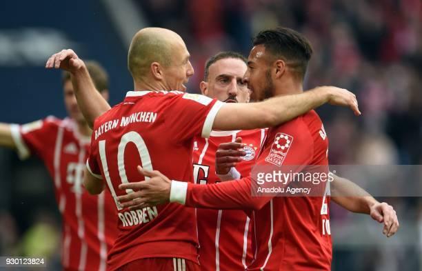 Arjen Robben Franck Ribery and Corentin Tolisso of Munich celebrate a goal during the German Bundesliga soccer match between FC Bayern Munich and...