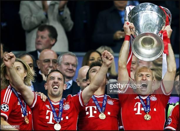 Arjen Robben Franck Ribery celebrates after the UEFA Champions League final match between Borussia Dortmund and Bayern Munich on May 25 2013 at...