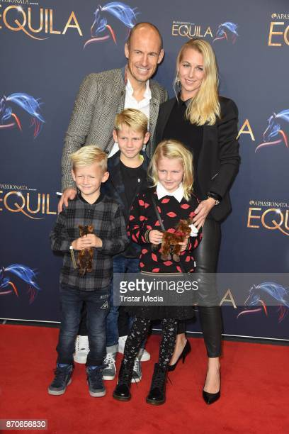 Arjen Robben his wife Bernadien Robben and their children Luka Robben Lynn Robben Kai Robben during the world premiere of the horse show 'EQUILA' at...