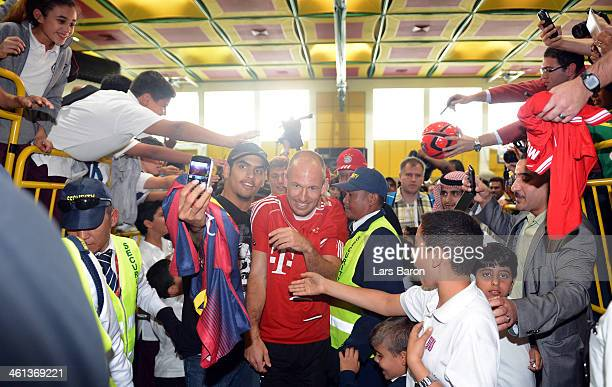 Arjen Robben is seen during a visit of the Qatar Foundation at day 4 of the Bayern Muenchen training camp at ASPIRE Academy for Sports Excellence on...