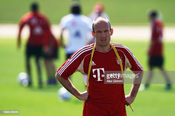 Arjen Robben looks on during a training session of Bayern Muenchen at the ASPIRE Academy for Sports Excellence on January 8, 2012 in Doha, Qatar.