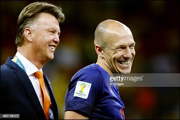 Arjen Robben Louis van Gaal during the World Cup 2014 playoff match for third place between Netherlands and Brazil on July 12 2014 at Estadio...
