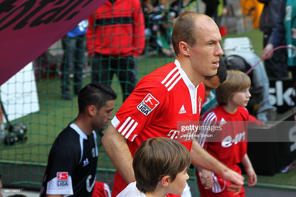 Arjen Robben of Bayern arrives for the Bundesliga match between FC Bayern Muenchen and Hannover 96 at Allianz Arena on April 17, 2010, in Munich, Germany.