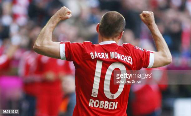 Arjen Robben of Bayern celebrates after scoring his team's second goal during the Bundesliga match between FC Bayern Muenchen and Hannover 96 at...