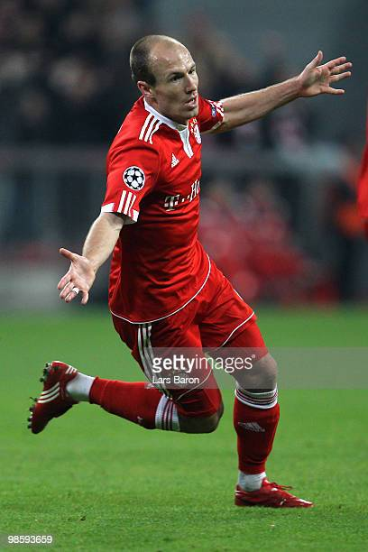 Arjen Robben of Bayern celebrates after scoring the opening goal during the UEFA Champions League semi final first leg match between FC Bayern...