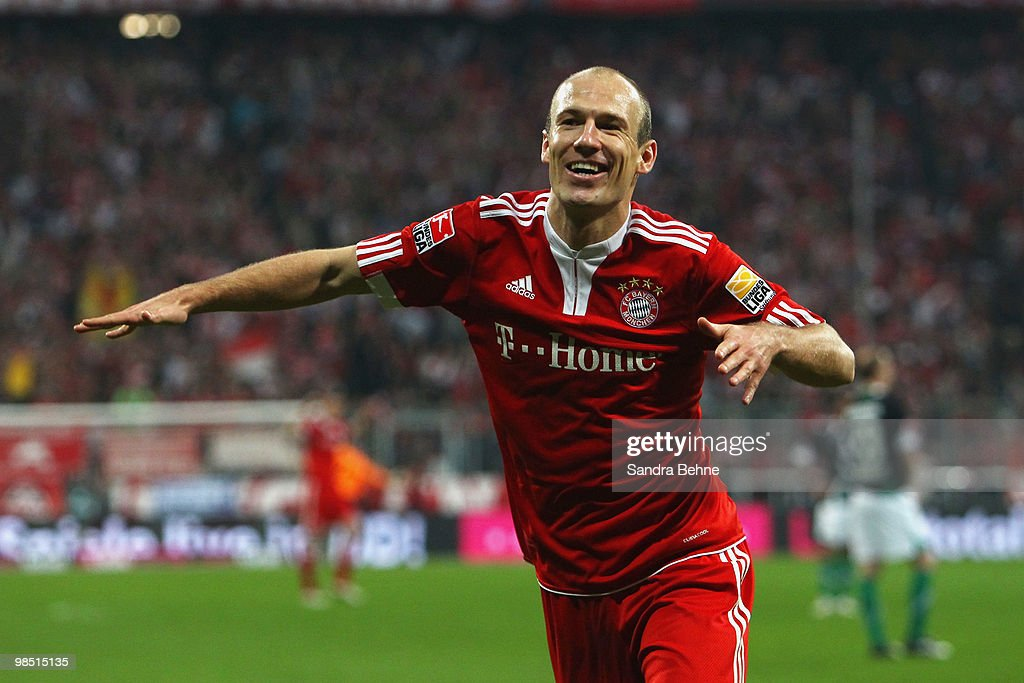 Arjen Robben of Bayern celebrates after scoring the seventh goal during the Bundesliga match between FC Bayern Muenchen and Hannover 96 at Allianz Arena on April 17, 2010, in Munich, Germany.