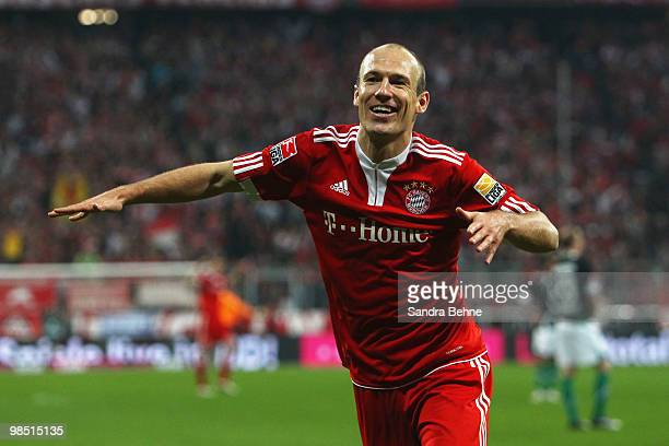 Arjen Robben of Bayern celebrates after scoring the seventh goal during the Bundesliga match between FC Bayern Muenchen and Hannover 96 at Allianz...