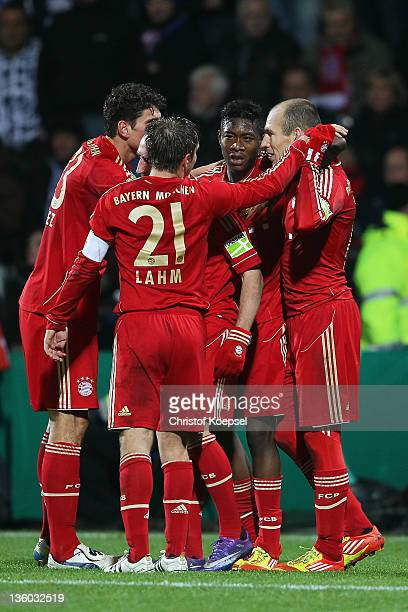 Arjen Robben of Bayern celebrates the second goal with his team mates during the DFB Cup round of sixteen match between VfL Bochum and FC Bayern...
