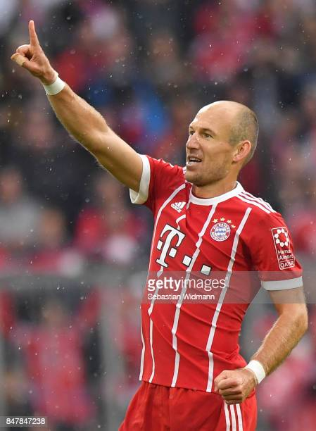 Arjen Robben of Bayern Muenchen celebrates after he scored his teams second goal to make it 20 during the Bundesliga match between FC Bayern Muenchen...