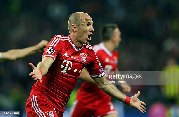 Arjen Robben of Bayern Muenchen celebrates after scoring a goal during the UEFA Champions League final match between Borussia Dortmund and FC Bayern...