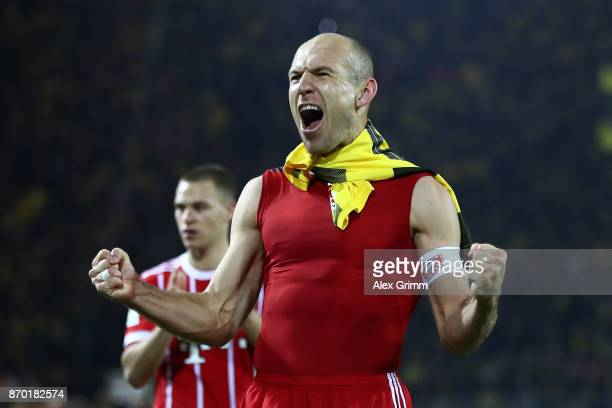 Arjen Robben of Bayern Muenchen celebrates after the Bundesliga match between Borussia Dortmund and FC Bayern Muenchen at Signal Iduna Park on...