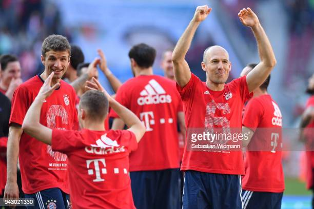 Arjen Robben of Bayern Muenchen celebrates after the Bundesliga match between FC Augsburg and FC Bayern Muenchen at WWKArena on April 7 2018 in...