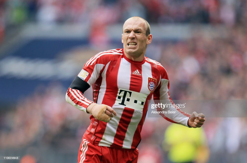 Arjen Robben of Bayern Muenchen celebrates his first goal during the Bundesliga match between 1. FC Muenchen and Hamburger SV at Allianz Arena on March 12, 2011 in Munich, Germany.