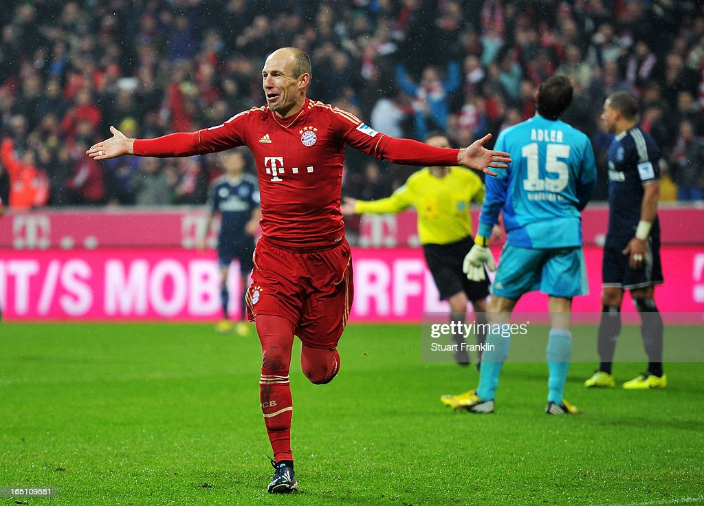 Arjen Robben of Bayern Muenchen celebrates his team's seventh goal during the Bundesliga match between FC Bayern Muenchen and Hamburger SV at Allianz Arena on March 30, 2013 in Munich, Germany.