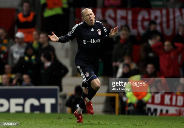 Arjen Robben of Bayern Muenchen celebrates scoring his team's second goal during the UEFA Champions League Quarter Final second leg match between...
