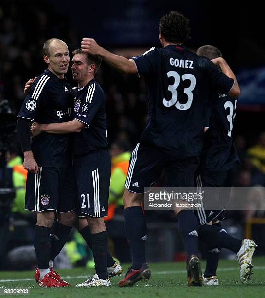 Arjen Robben of Bayern Muenchen celebrates with his team mates after scoring his team's second goal during the UEFA Champions League Quarter Final...