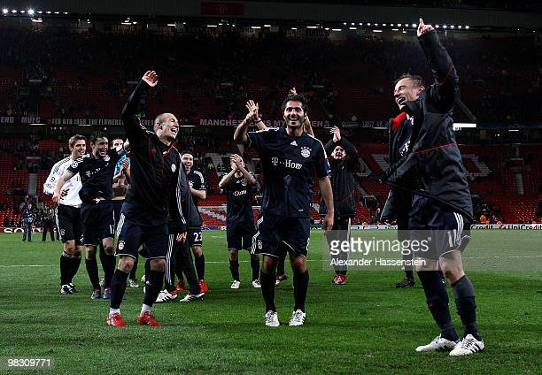 Arjen Robben of Bayern Muenchen celebrates with team mates Hamit Altintop and Ivica Olic at the end of the UEFA Champions League Quarter Final second...